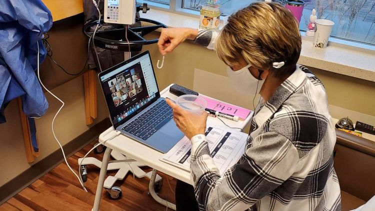 Teacher Teaching Virtually in Hospital