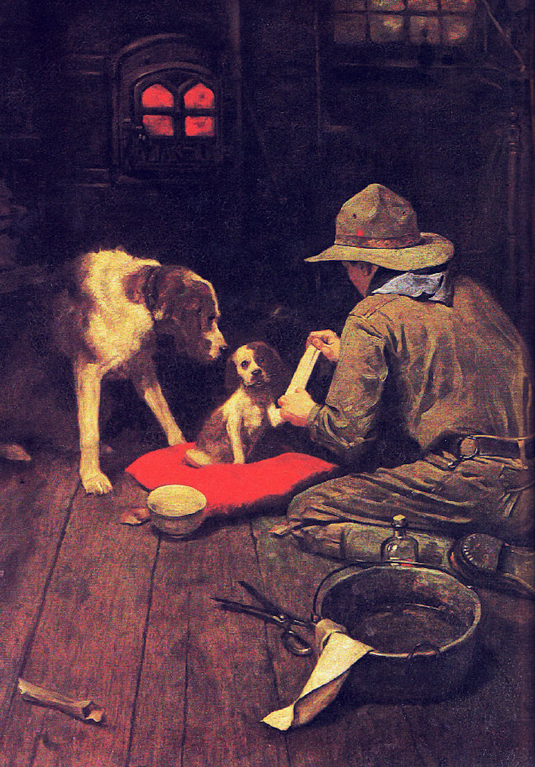 A Red Cross Man in the Making by Norman Rockwell