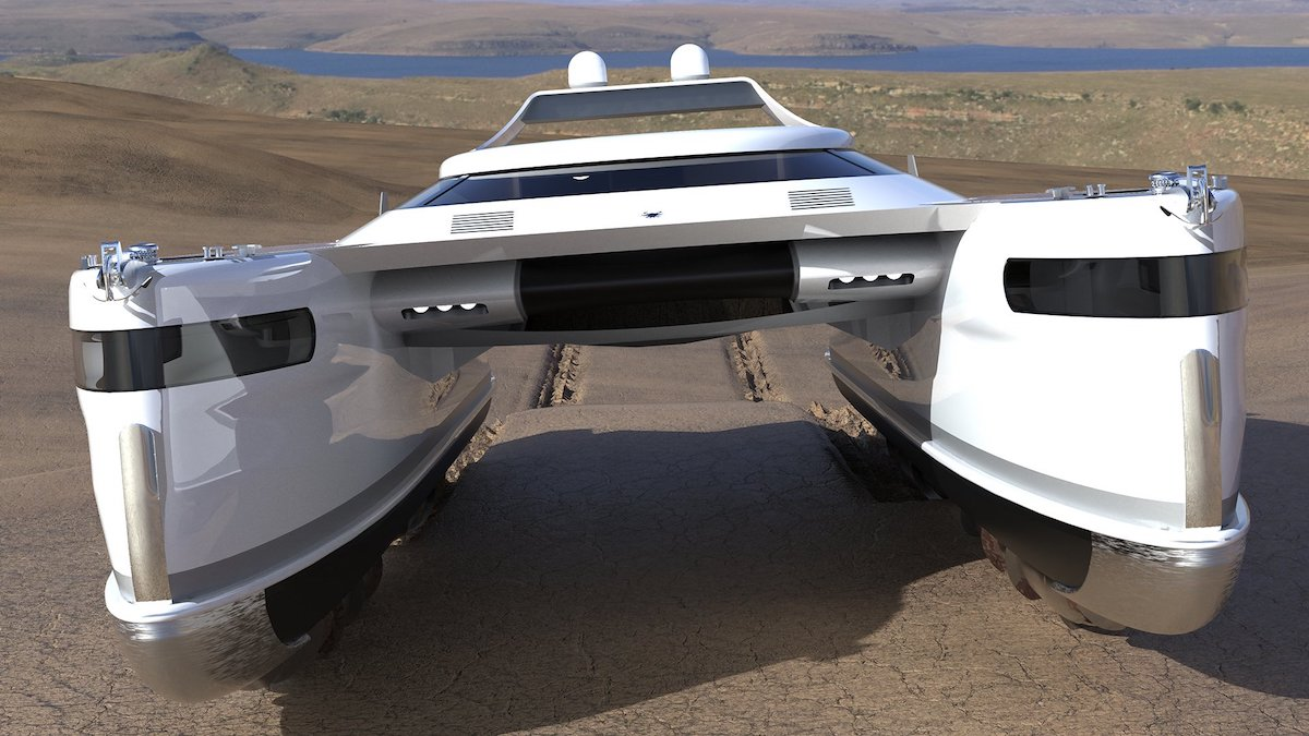 This Solar-Powered Amphibious Boat Works on Water and Land