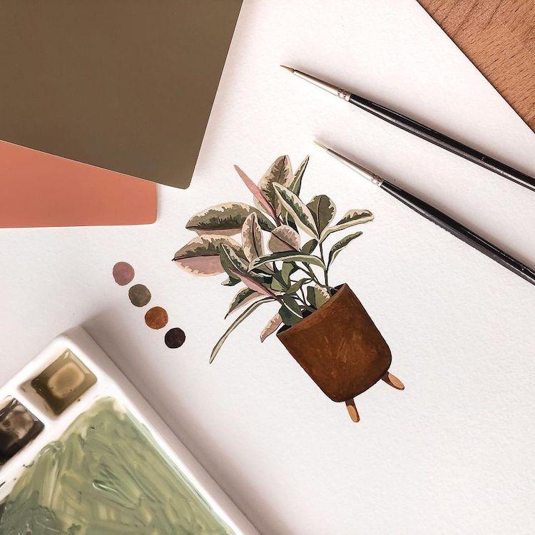 ilustraciones de plantas por Rosa F