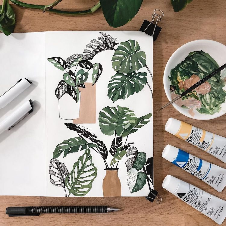 Pretty Plant Paintings Capture the Leafy Beauty of Everyday Houseplants