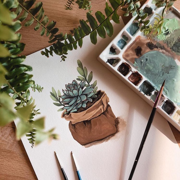 House Plant Paintings by Rosa F