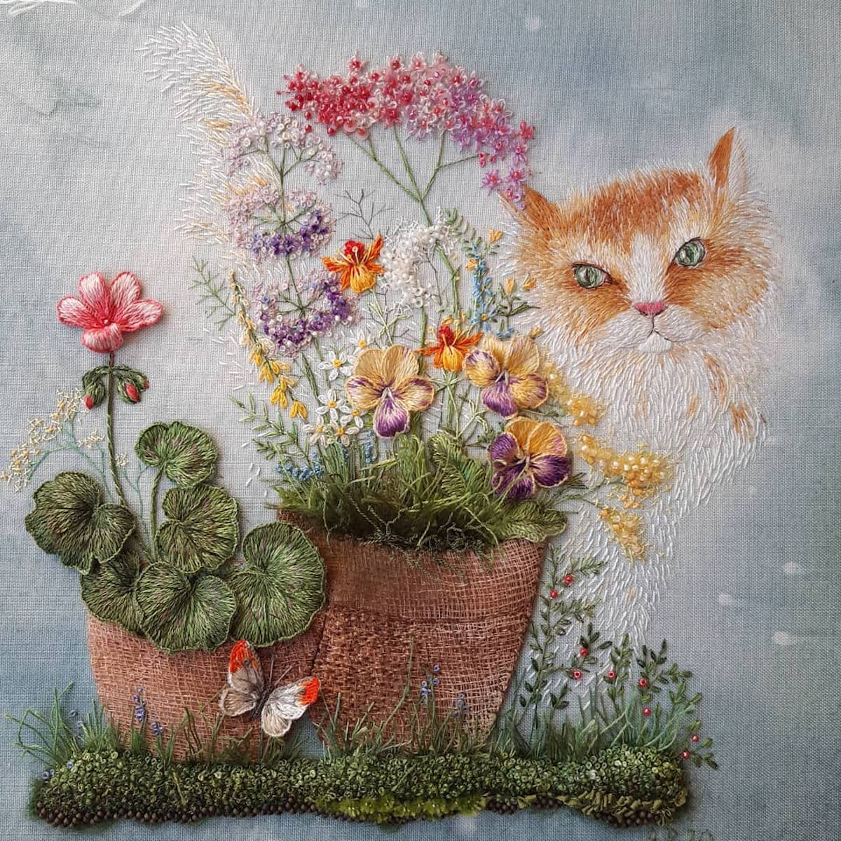Rosa Andreeva Embroidered Garden With Snail