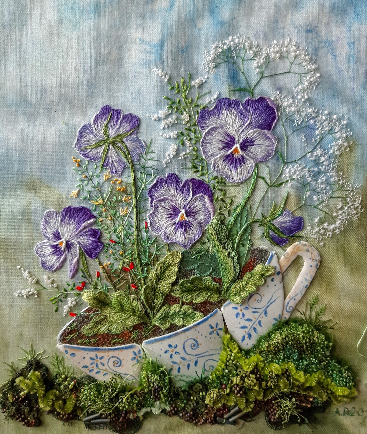 Rosa Andreeva Embroidered Flowers Sprouting From Teacup