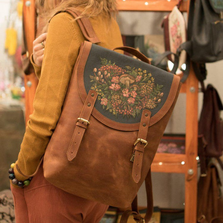 Illustrated Leather Backpack