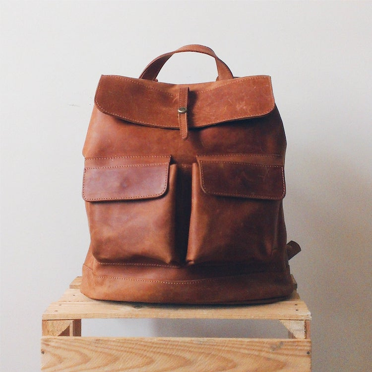Lined Leather Backpack