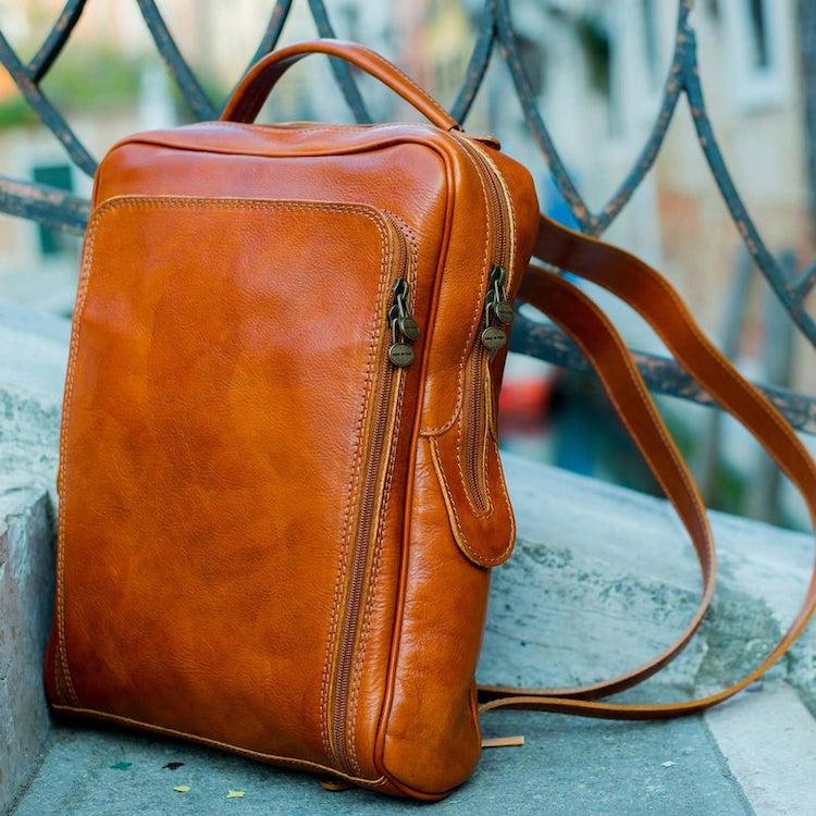Minimalist Style Leather Backpack