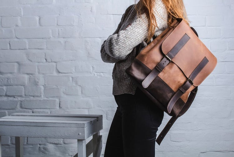 Two-Toned Leather Laptop Backpack
