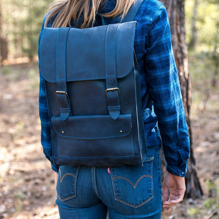 Dark Blue Leather Backpack