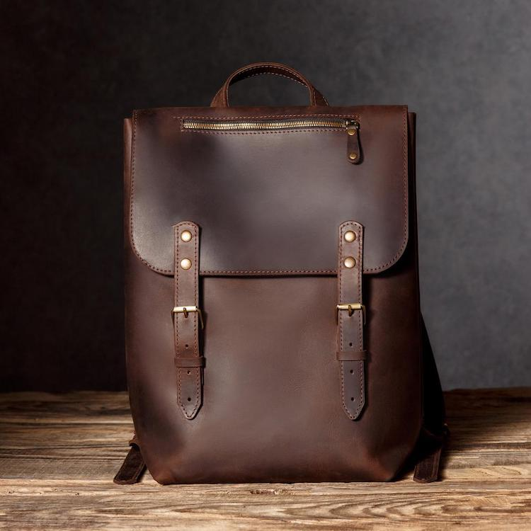 Men's Brown Leather Laptop Backpack