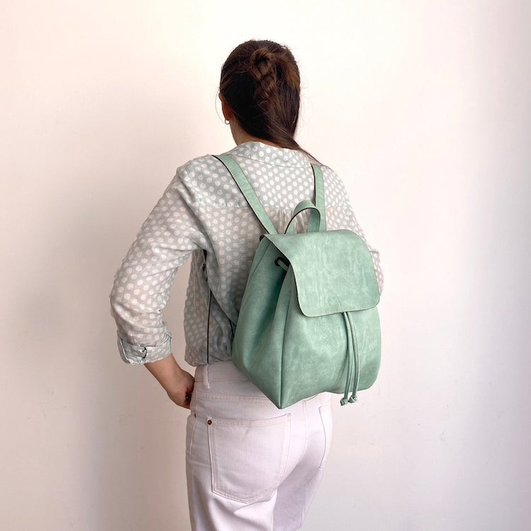 Mint Green Vegan Leather Backpack