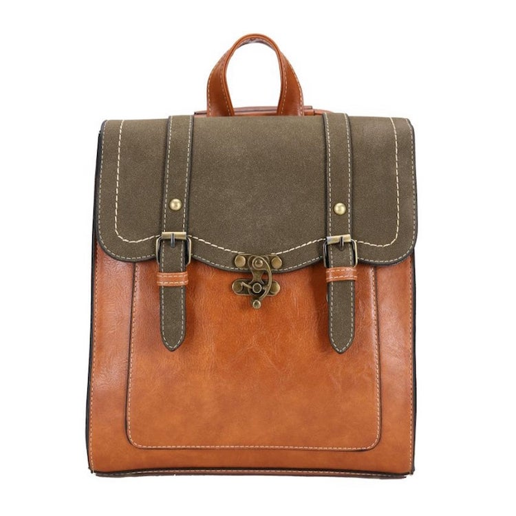 Vegan Leather Convertible Backpack Purse