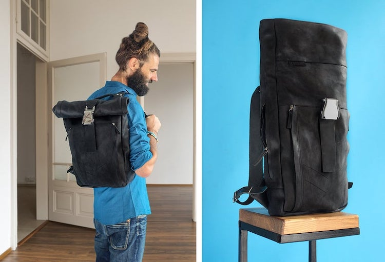Roll Top Leather Backpack With Aircraft Buckle