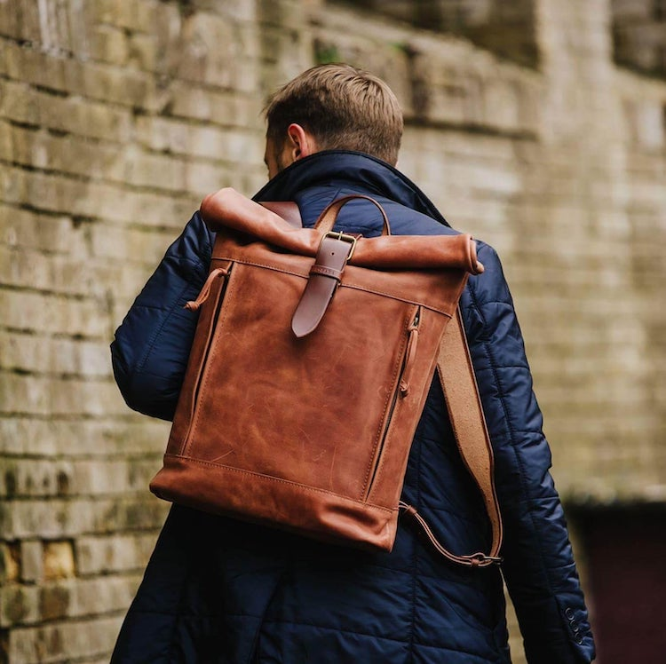 Brown Roll Top Leather Backpack