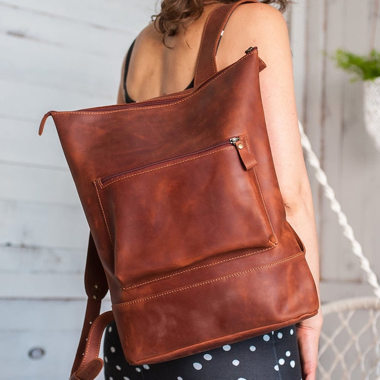 Zip Closure Casual Leather Backpack