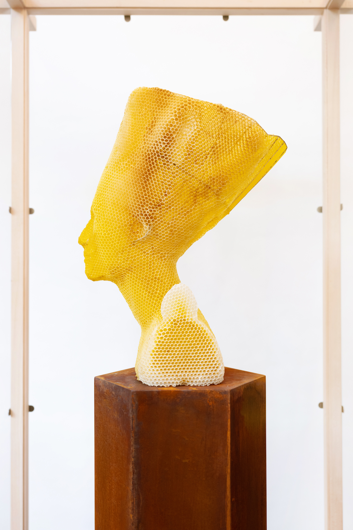 Nefertiti Bust Made Out of Beeswax and Honeycomb by Tomas Libertiny