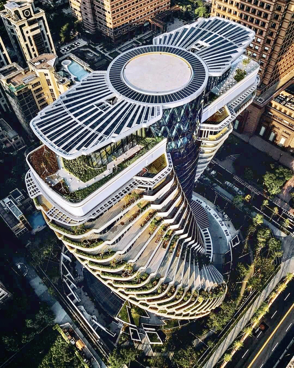 This Twisting Carbon-Absorbing Tower in Taipei Will Soon Be Completed