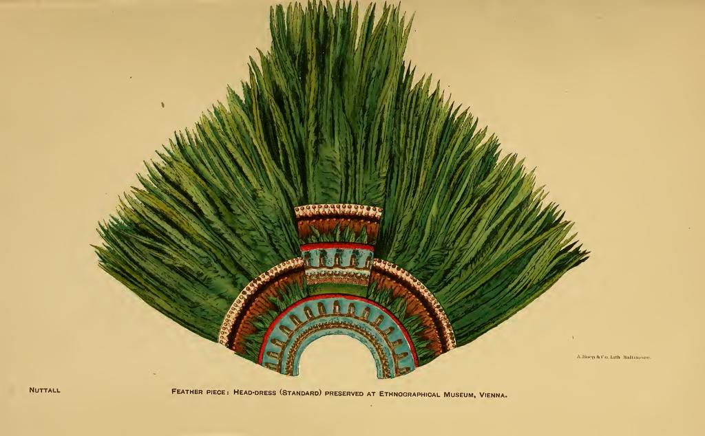 Ilustración del penacho de Moctezuma de