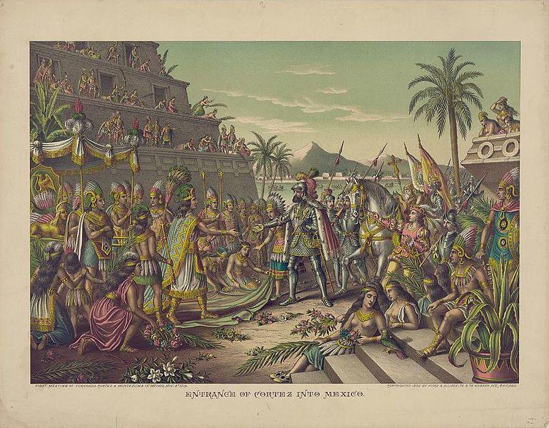 Ilustración del encuentro entre Hernán Cortés y Moctezuma