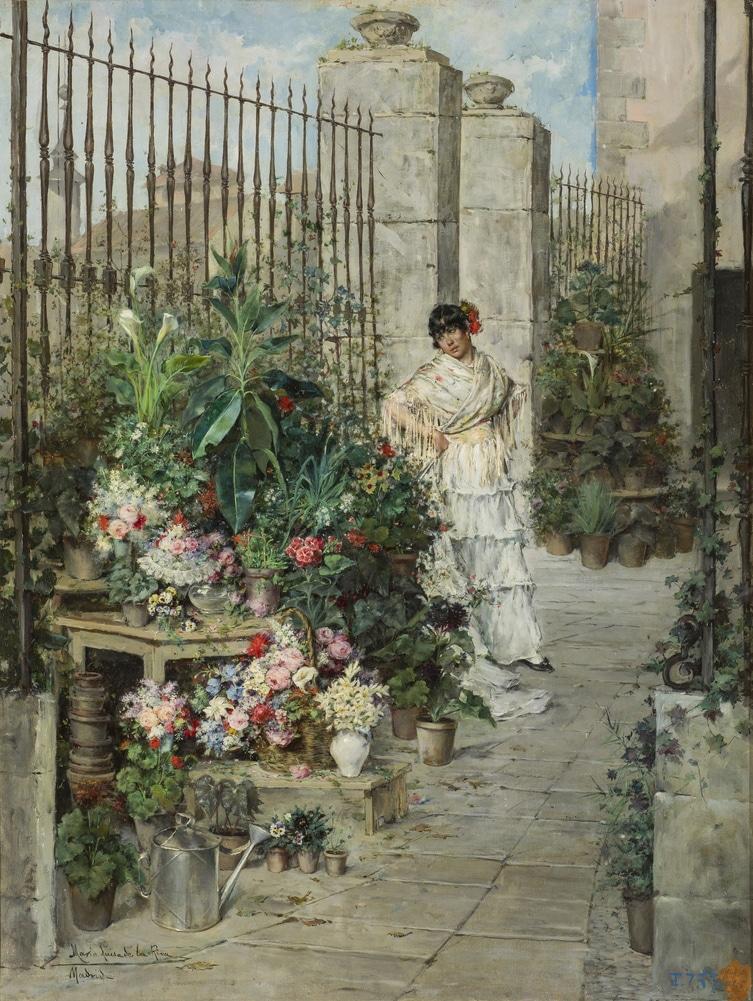 Puesto de flores de María Luisa de la Riva y Callol Muñoz