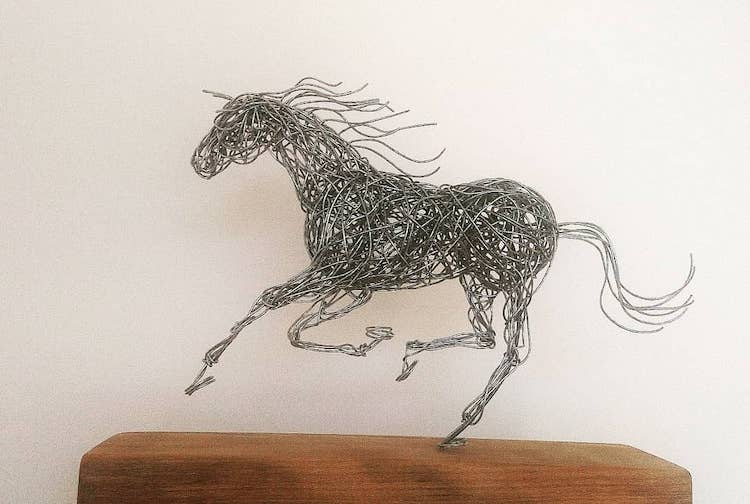 Galvanized Wire Horse Sculptures by Connie Adam