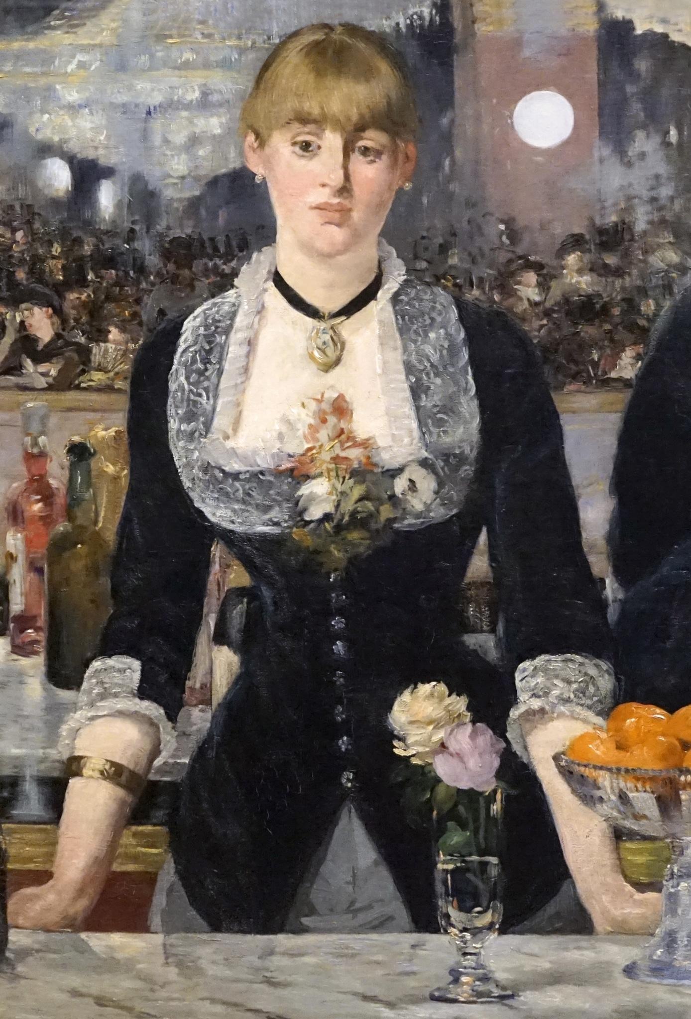 Detalle de Un bar del Folies Bergere de Edouard Manet