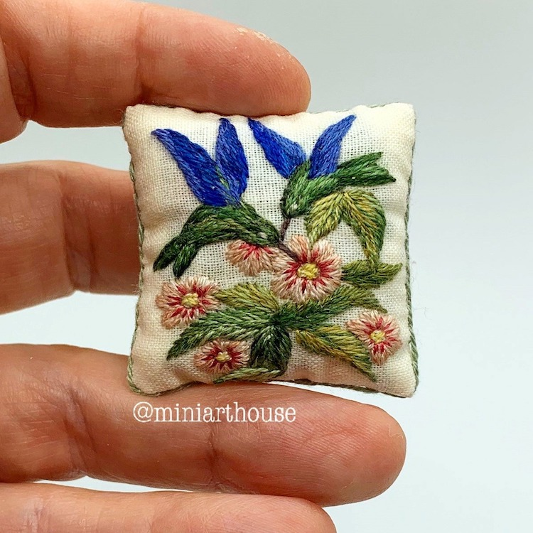 Miniature Embroidered Pillows by MiniArtHouse