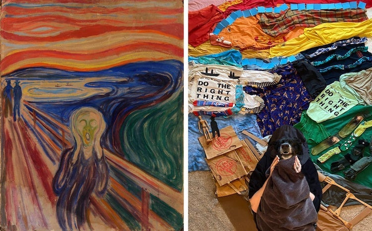 Woman and Dog Recreating The Scream