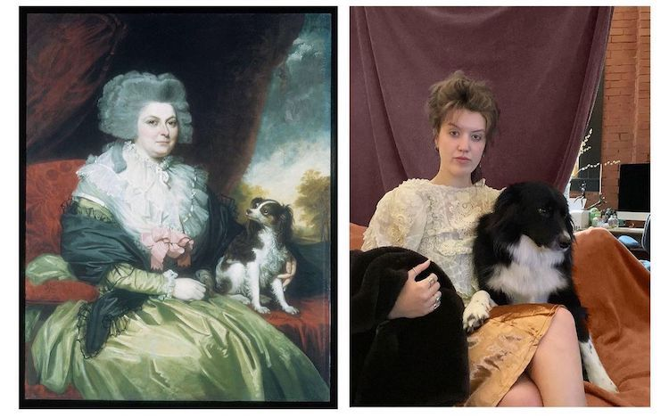 Woman and Dog Recreating Famous Artworks