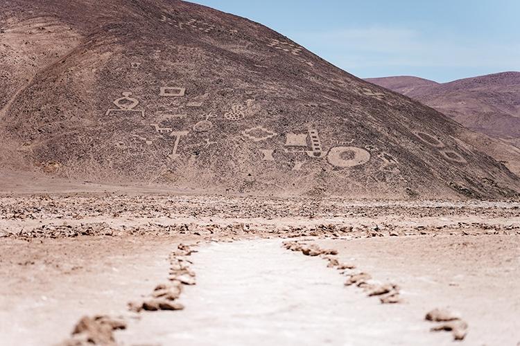 Geoglyphs in Atacama Desert, Chile.