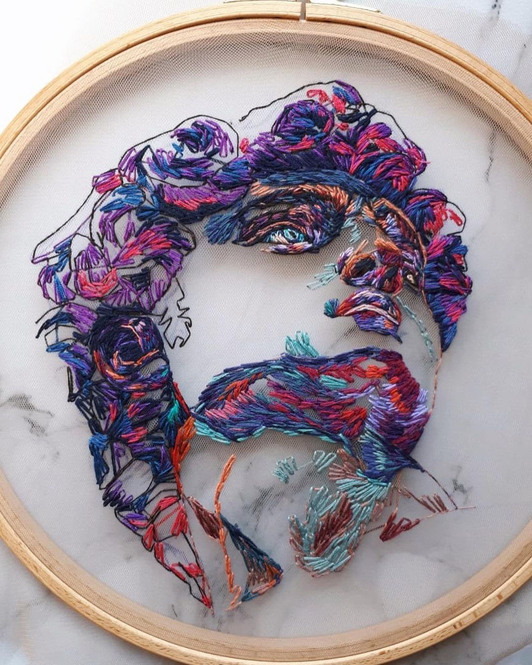 Tulle Embroidery Art by Kathrin Marchenko
