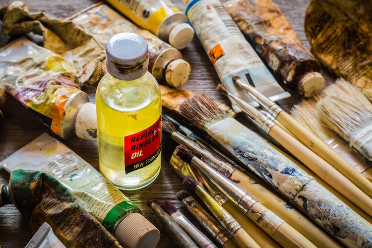 Linseed Oil and Paint Brushes
