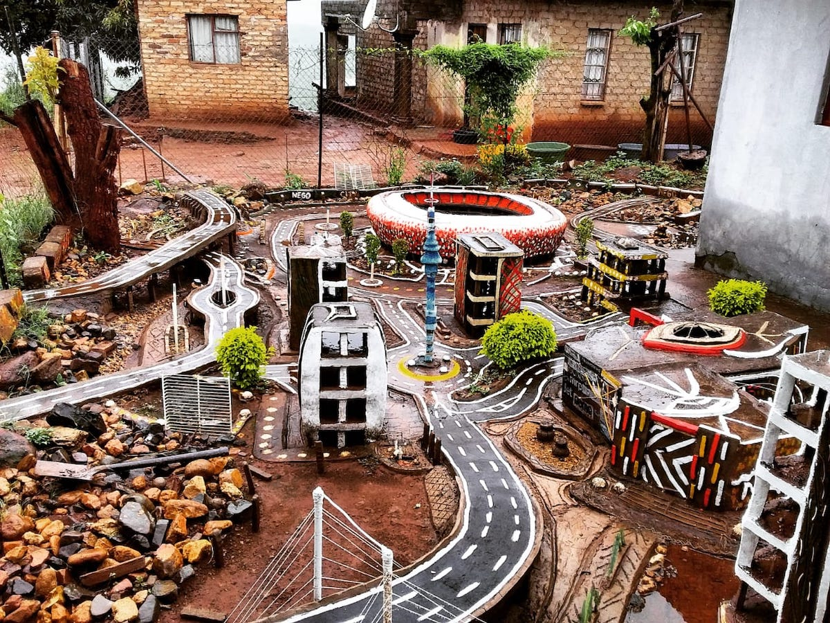 Designer Creates Incredible Mini City of his Home Town in South Africa Made of Recycled Material