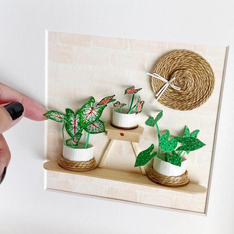 Plantas de papel en miniatura por Craftifact