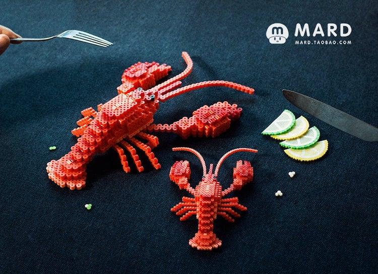 Lobster 3D Perler Bead Pattern