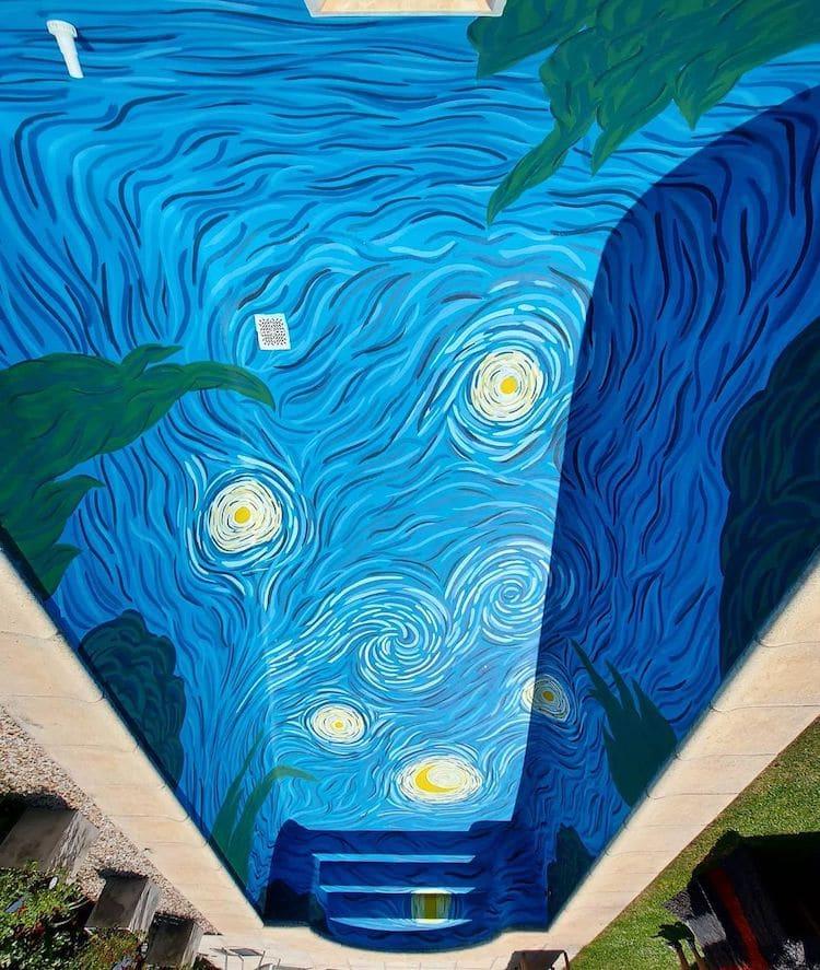 Van Gogh Starry Night Swimming Pool by Amancay Murales