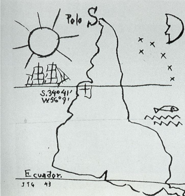 """dibujo """"américa invertida"""" de joaquín torres garcía"""