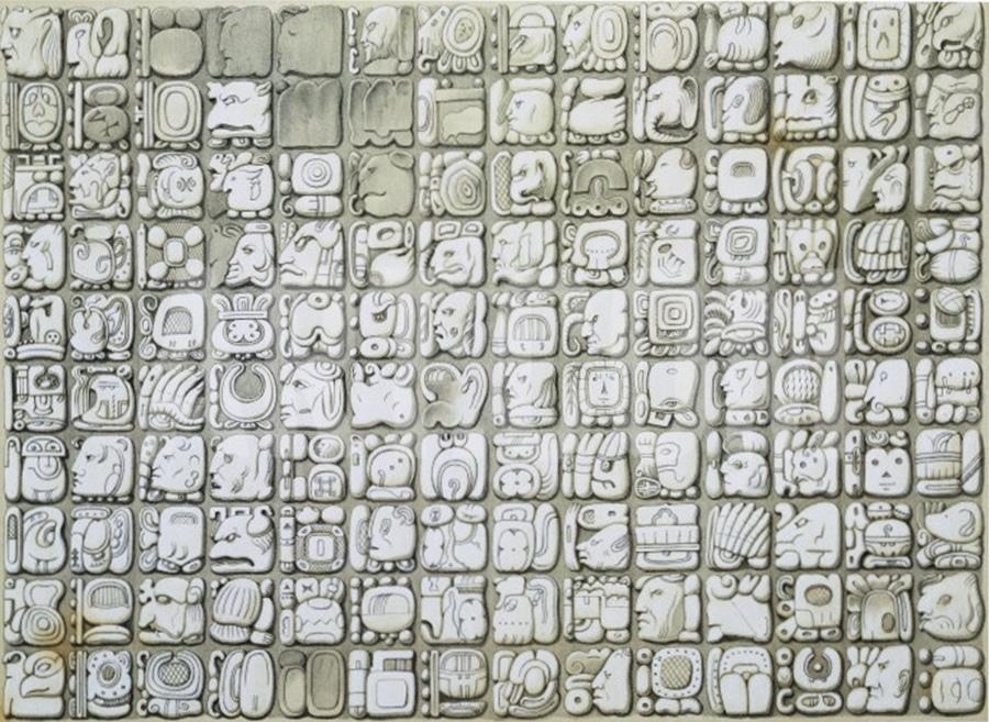 Panel de escritura maya en Palenque según Waldeck