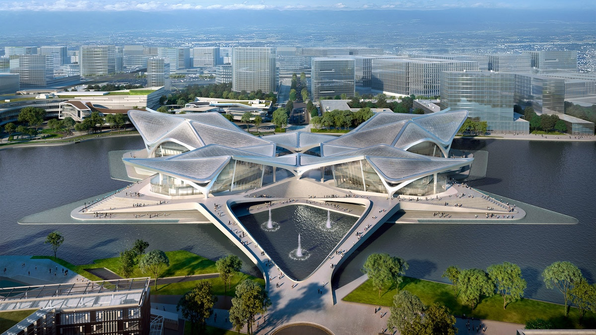 Zaha Hadid Architects' Stunning New Zhuhai Jinwan Civic Art Centre Is Now Under Construction in Southern China