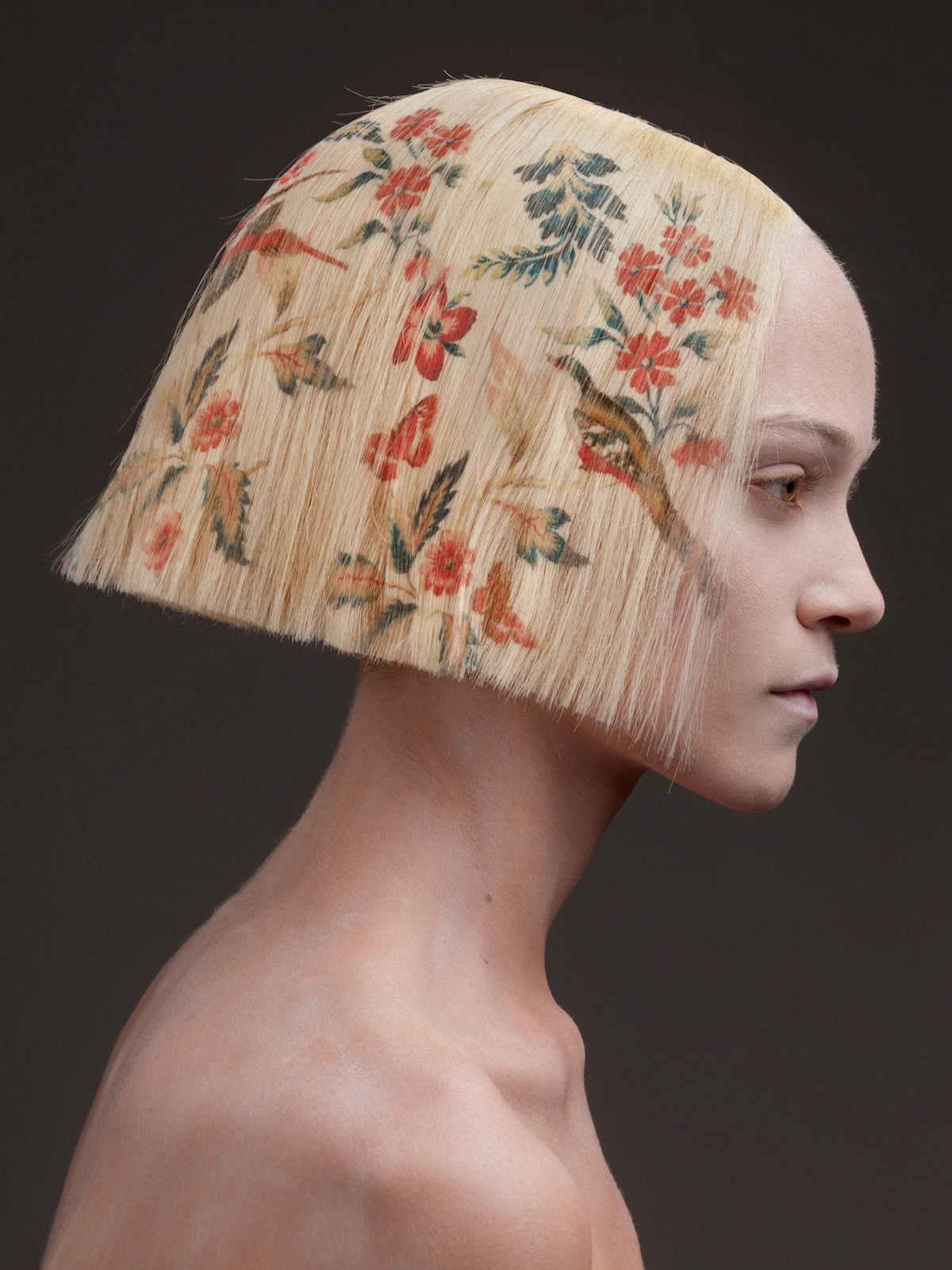 Digitally Printed Flower Hairstyles by Alexis Ferrer