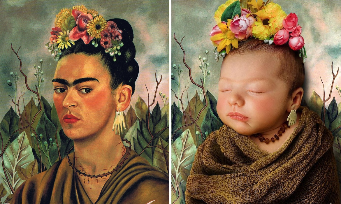 Frida Kahlo Painting and Baby Portrait Recreation