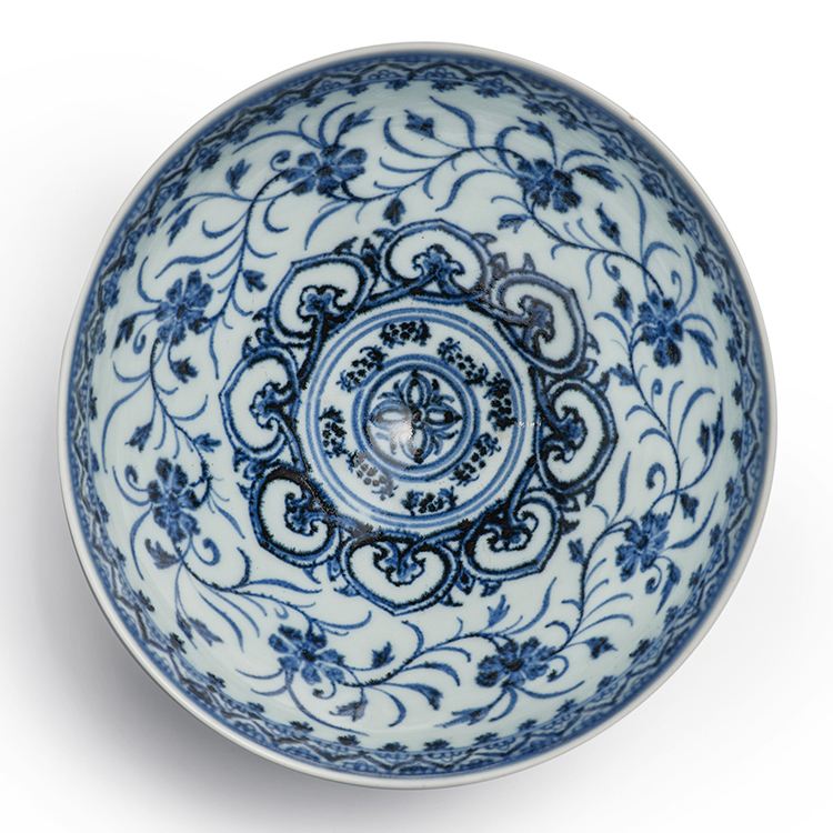 Ming Dynasty Yongle Period Blue and White Floral Porcelain Bowl