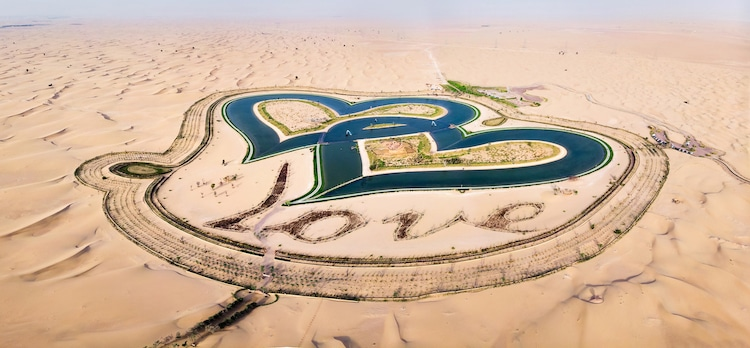 Swim in the Middle of the Desert in Dubai's Heart-Shaped Love Lake