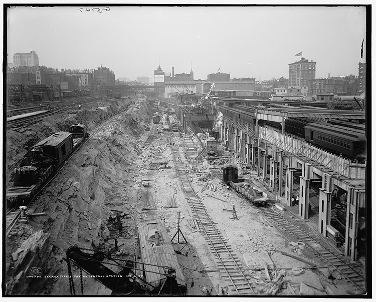 Excavations for Grand Central terminal Station Railway New York