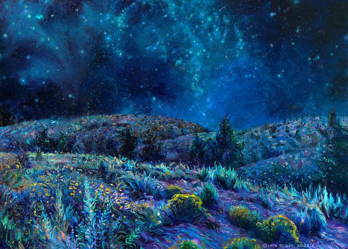 Pintura del desierto hecha con los dedos por Iris Scott