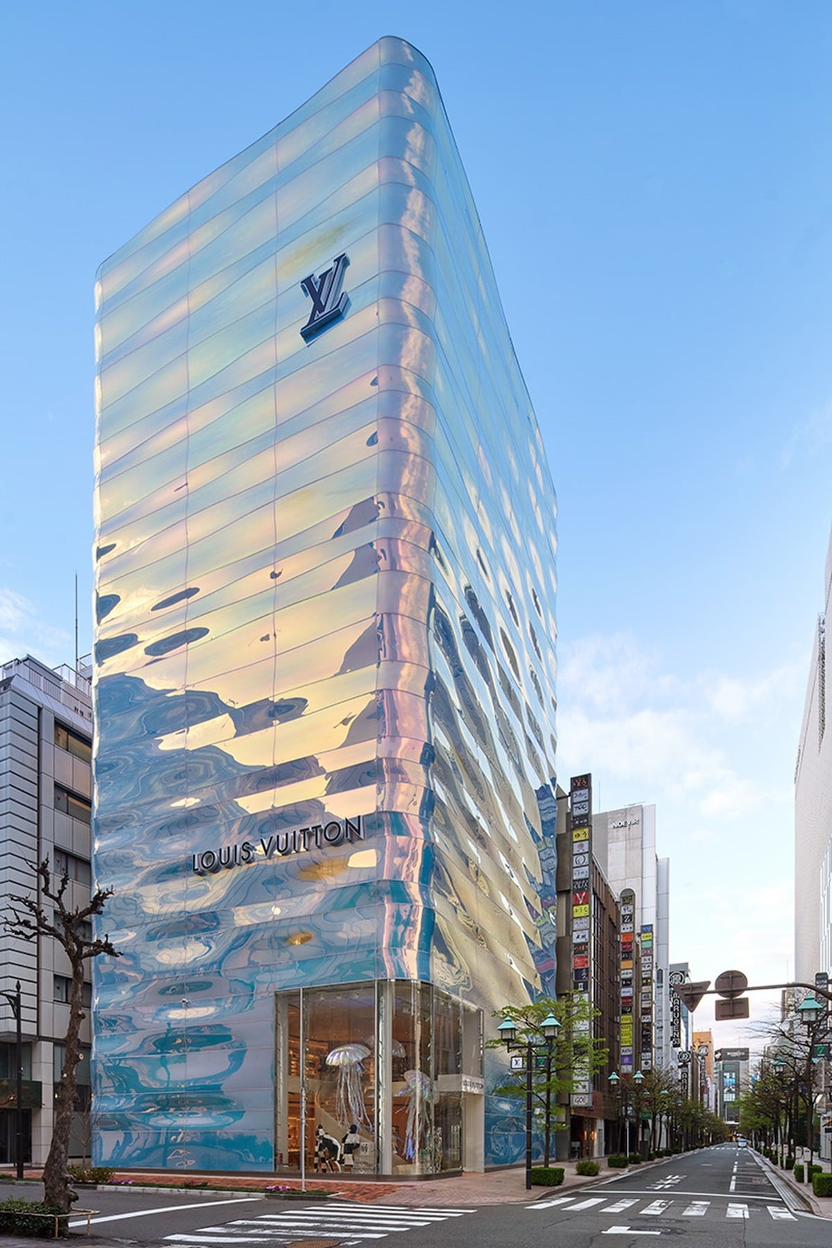 Louis Vuitton's Ginza Namiki Store Reopens With Shimmering Sea-Inspired Façade