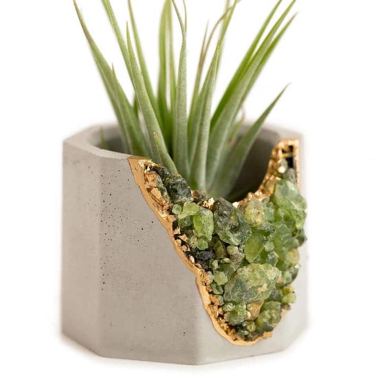 Geode and Concrete Succulent Planters and Candle Holders by Tal & Bert