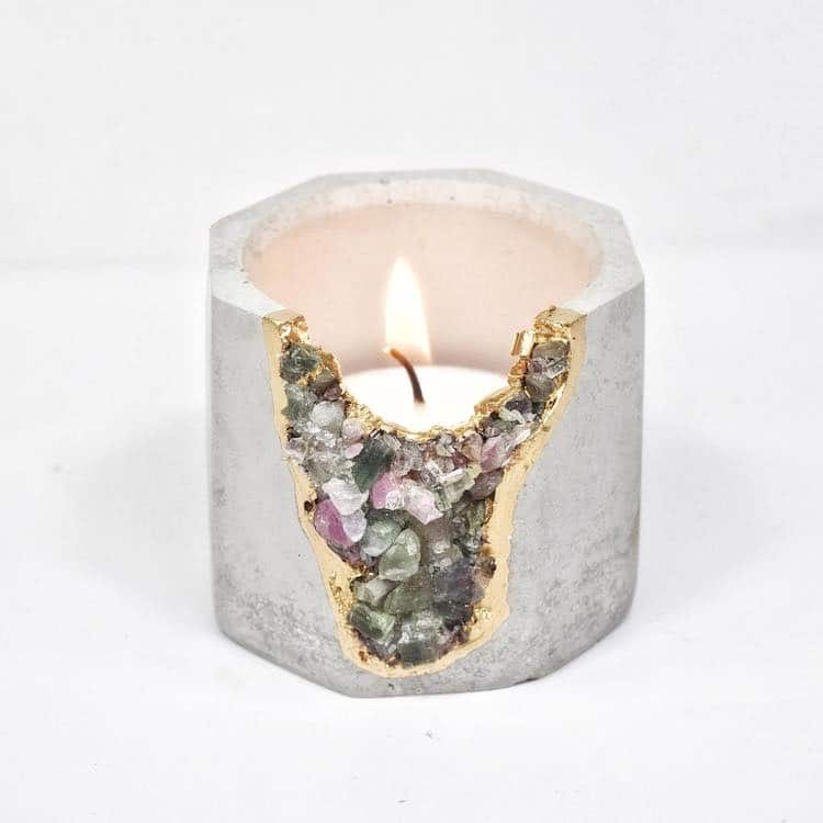 Geode and Concrete Planters And Modern Candle Holders