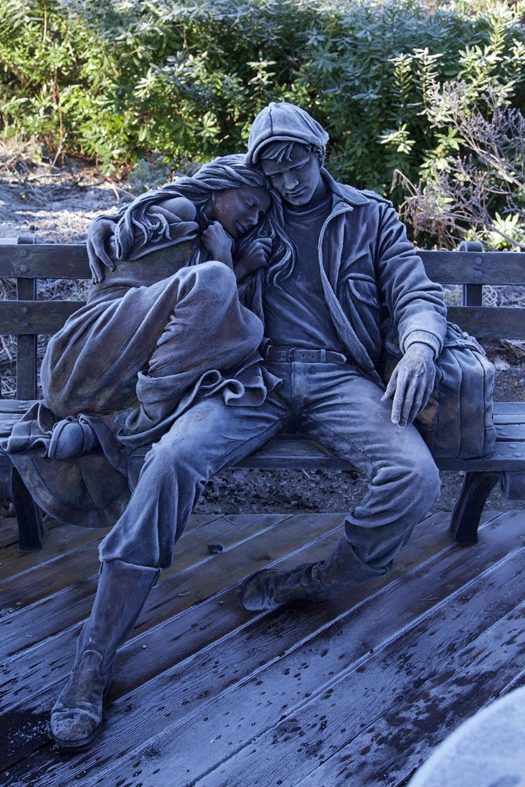 Vancouver VanDusen Botanical gardens Departure Statue Frosted Over