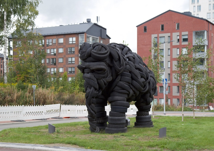Elephant Sculpture Made From Recycled Tires